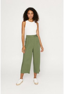 Khaki Buckle Crop Wide Trouser