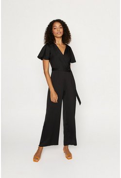 Black Satin Wrap Jumpsuit