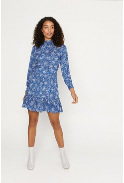 Blue Ditsy Shirred Neck Dress