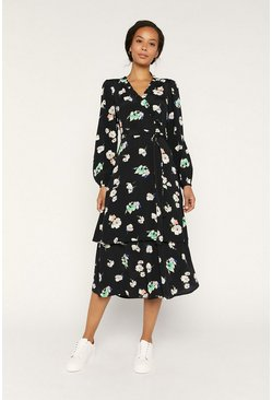 Black Floral Long Sleeve Ruffle Midi Dress