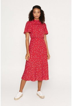 Red Ditsy Heart Bias Midi Dress