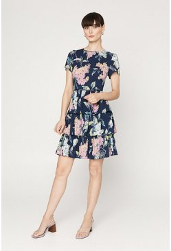 Blue Blossom Floral Tiered Dress