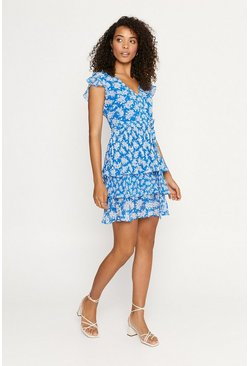Blue Ditsy Patched Skater Dress