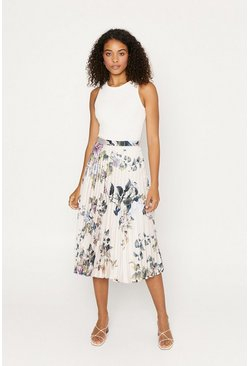Beige Floral Satin Pleat Midi Skirt