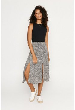 Black Camo Textured Midi Skirt