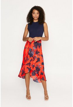 Orange Shadow Frill Midi Skirt
