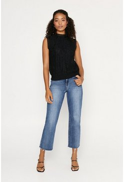 Black Lace Shirred Hem Shell Top