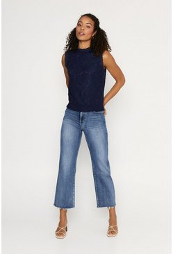 Navy Lace Shirred Hem Shell Top