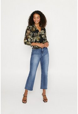 Black Leaf Print Shirred V Neck Top