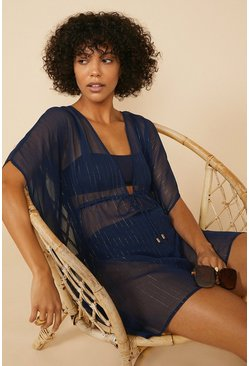 Navy Metallic Stripe Kaftan