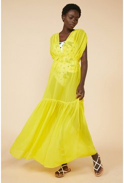 Bright yellow Tiered Plunge Maxi Dress