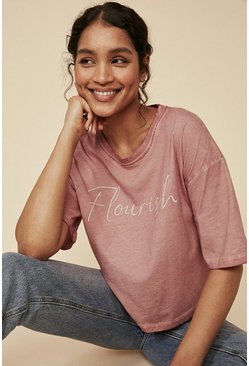 Pink Flourish Slogan T Shirt