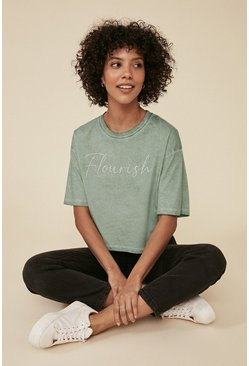 Sage Flourish Slogan T Shirt