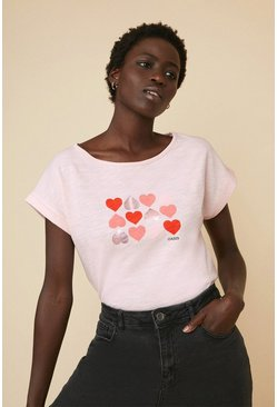 Pink Heart Placement Slub T Shirt