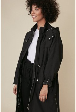 Black Zip Detail Midi Parka