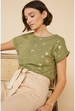 Khaki Foil Star Fish Slub T Shirt