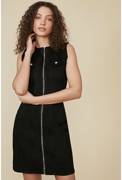 Black Pocket Detail Midi Denim Dress