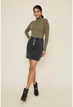 Black Button Through Denim Skirt