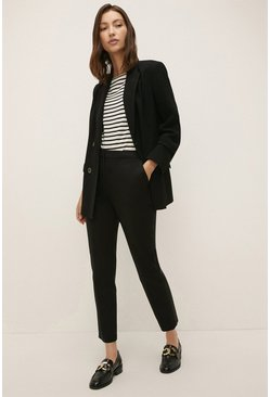 Black Slim Leg Cotton Sateen Trouser