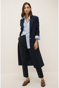 Dark navy Slim Leg Cotton Sateen Trouser