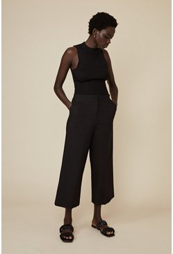 Black Cotton Sateen Wide Leg Trouser