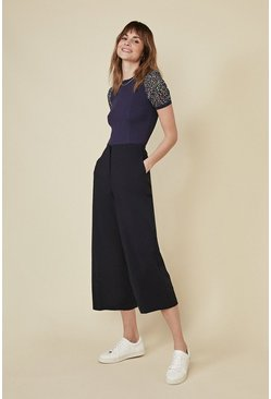 Dark navy Cotton Sateen Wide Leg Trouser