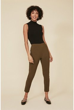 Khaki Skinny Cotton Sateen Trouser