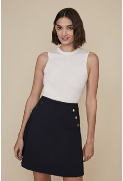 Dark navy Cotton Sateen A Line Skirt