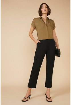 Black Cotton Sateen Cargo Trouser