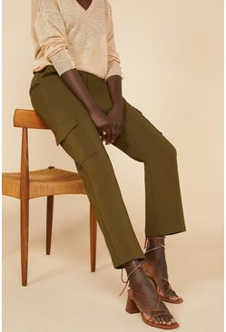 Khaki Cotton Sateen Cargo Trouser