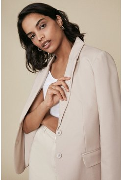 Stone Cotton Sateen Jacket