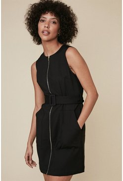 Black Zip Through Shift Dress