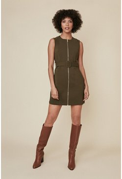 Khaki Zip Through Shift Dress