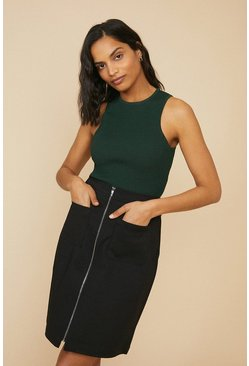 Black Zip Through Cotton Sateen Skirt