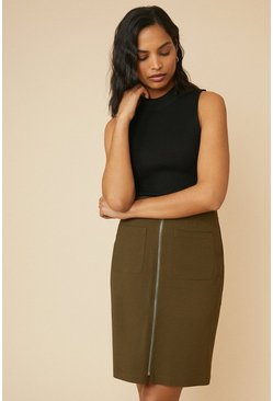 Khaki Zip Through Cotton Sateen Skirt