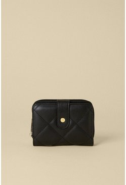 Black Quilted Zip Round Purse