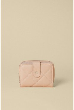 Nude Quilted Zip Round Purse