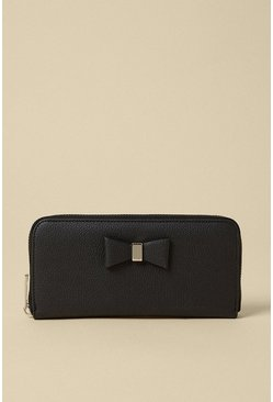 Black 32 Bow Front Zip Around Purse