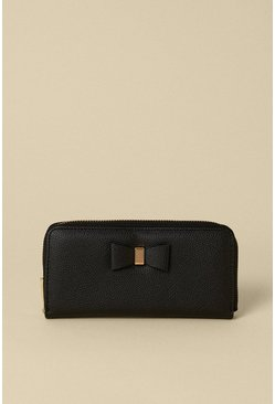 Black Bow Front Zip Around Purse