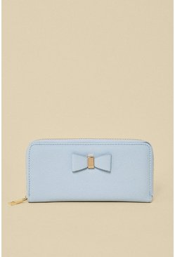 Blue Bow Front Zip Around Purse