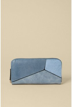 Blue Colour Block Zip Around Purse