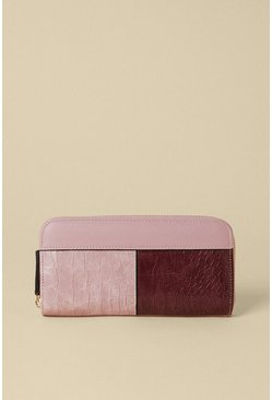 Pink Colour Block Zip Around Purse