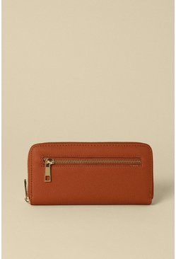 Tan Zip Front Pocket Purse