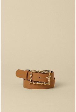 Light tan Rectangle Buckle Belt