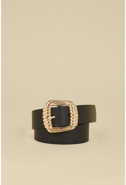 Black Line Metal Buckle Belt
