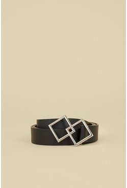 Black Double Square Ring Buckle Belt