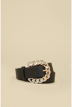 Black Diamante Chain Buckle Belt