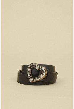 Black Heart Diamante Buckle Belt