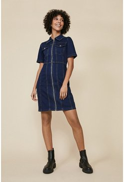 Dark wash Cap Sleeve Zip Through Denim Dress