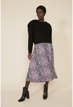 Multi Coloured Animal Pleated Midi Skirt